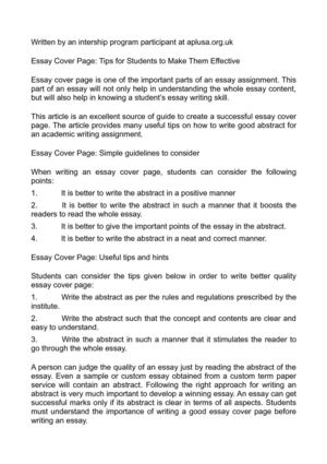 Calaméo - Essay Cover Page Tips for Students to Make Them Effective