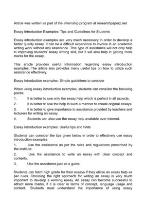 Calaméo - Essay Introduction Examples Tips and Guidelines for Students