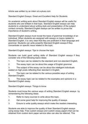 Calaméo - Standard English Essays Great and Excellent Help for Students