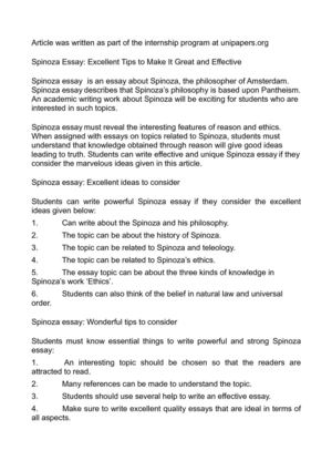 Calaméo - Spinoza Essay Excellent Tips to Make It Great and Effective