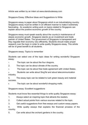 Calaméo - Singapore Essay Effective Ideas and Suggestions to Write