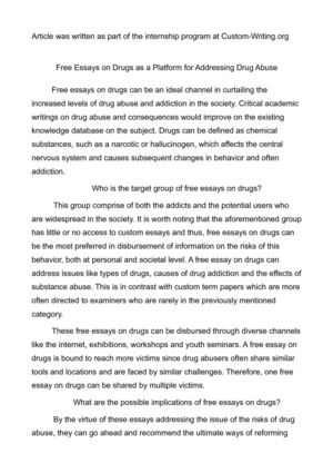 Calaméo - Free Essays on Drugs as a Platform for Addressing Drug Abuse