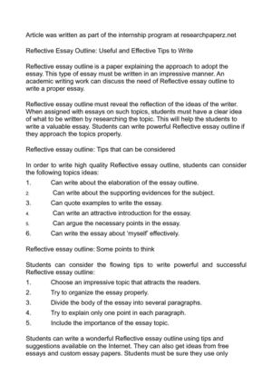 Reflective Essay Outline - Reflective Essay Pay Attention to Structure