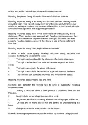 Calaméo - Reading Response Essay Powerful Tips and Guidelines to Write