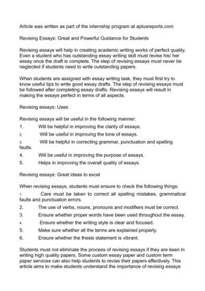 Calaméo - Revising Essays Great and Powerful Guidance for Students