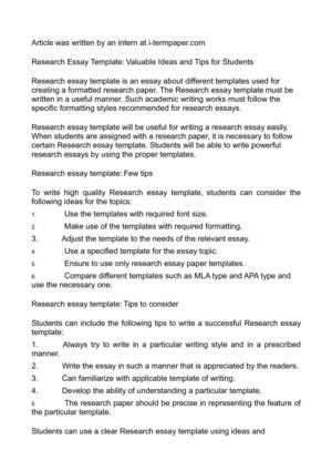 Calaméo - Research Essay Template Valuable Ideas and Tips for Students
