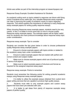 Calaméo - Response Essay Example Excellent Assistance for Students