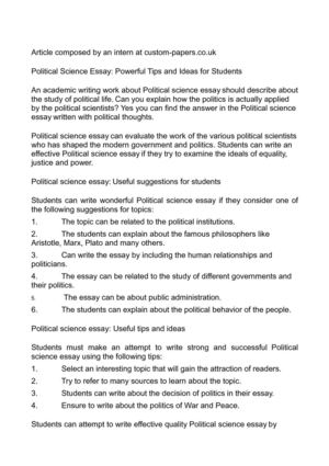 Calaméo - Political Science Essay Powerful Tips and Ideas for Students - war and peace essay topics