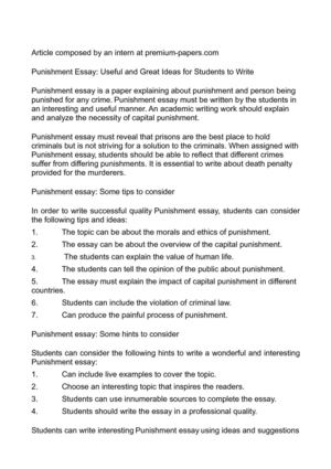 Calaméo - Punishment Essay Useful and Great Ideas for Students to Write