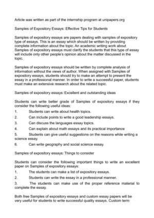 Calaméo - Samples of Expository Essays Effective Tips for Students
