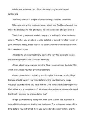 Calaméo - Testimony Essays \u2013 Simple Steps for Writing Christian