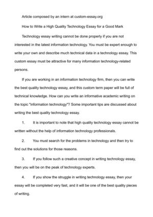Calaméo - How to Write a High Quality Technology Essay for a Good Mark