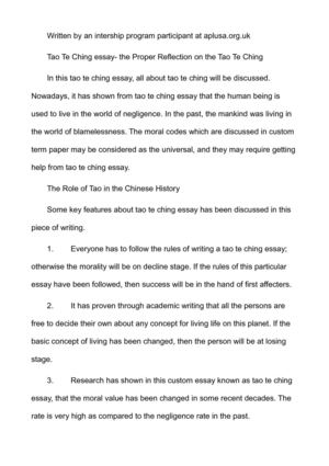 Calaméo - Tao Te Ching essay- the Proper Reflection on the Tao Te Ching