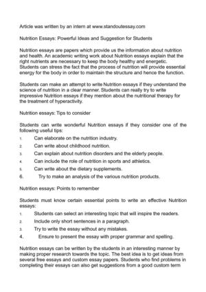 Calaméo - Nutrition Essays Powerful Ideas and Suggestion for Students