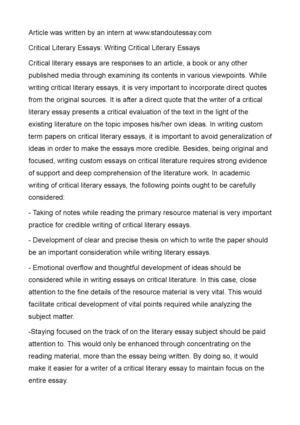 Calaméo - Critical Literary Essays Writing Critical Literary Essays