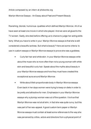 Calaméo - Marilyn Monroe Essays - An Essay about Past and Present Beauty