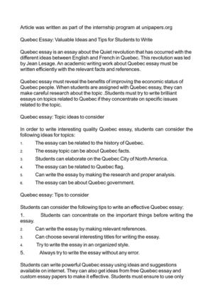 Calaméo - Quebec Essay Valuable Ideas and Tips for Students to Write