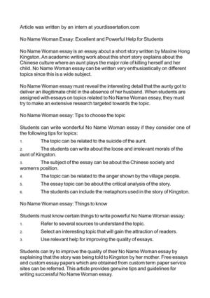 Calaméo - No Name Woman Essay Excellent and Powerful Help for Students