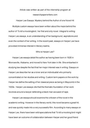 Calaméo - Harper Lee Essays; Mystery behind the Author of one Novel Hit - novel essays