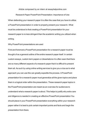 Calaméo - Research Paper PowerPoint Presentation Importance of Use