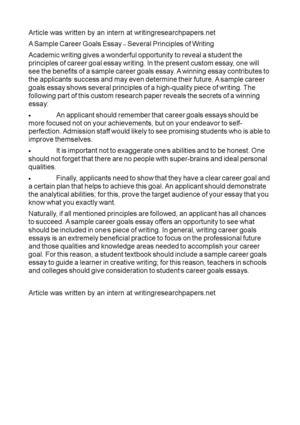 Calaméo - A Sample Career Goals Essay \u2013 Several Principles of Writing
