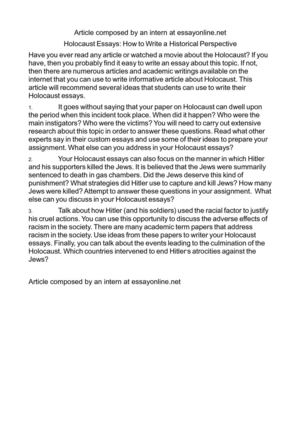 Calaméo - Holocaust Essays How to Write a Historical Perspective