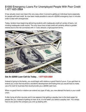 Emergency Loans For Unemployed People - Quick And Easy