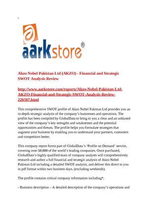 Calaméo - Akzo Nobel Pakistan Ltd (AKZO) - Financial and Strategic - strategic analysis report