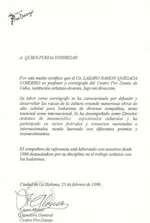 Calaméo - Carta de recomendacion y aval profesional del Ballet P