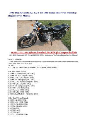 Calaméo - 1981-2002 Kawasaki KZ, ZX  ZN 1000-1100cc Motorcycle