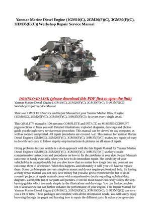 Calaméo - Yanmar Marine Diesel Engine (1GM10(C), 2GM20(F)(C), 3GM30