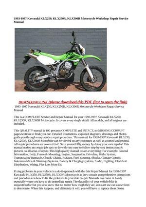 Calaméo - 1993-1997 Kawasaki KLX250, KLX250R, KLX300R Motorcycle