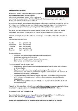 Calaméo - Rapid Volunteer Administration Job Description