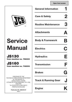 Calaméo - JCB JS130 TRACKED EXCAVATOR Service Repair Manual (SN