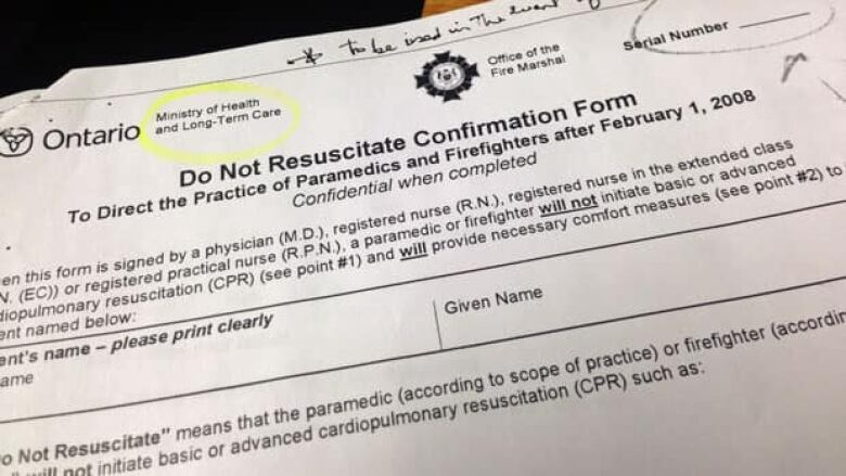 Paperwork before dying honours wishes, saves trouble CBC News - do not resuscitate forms