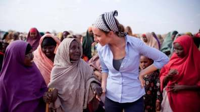 Amanda Lindhout is shown in this 2011 handout photo speaking to a group of women in Somalia as she works for her non-profit organization, the Global Enrichment Foundation. On Friday, RCMP arrested a Somalian national in Ottawa who was allegedly part of Lindhout's kidnapping in 2008.