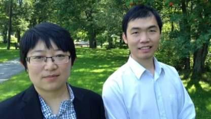Minzhou Sun (left) and Jinbo Chen are working to set up a mental health peer support group that will offer help in Chinese.