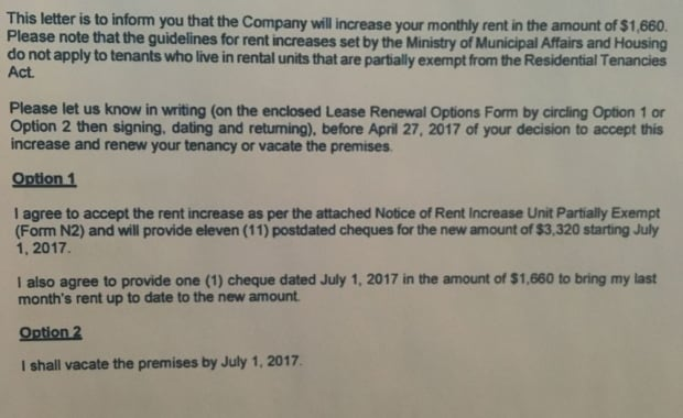 Tenants looking for new place after $1,660 rent increase - Toronto - rent increase letter