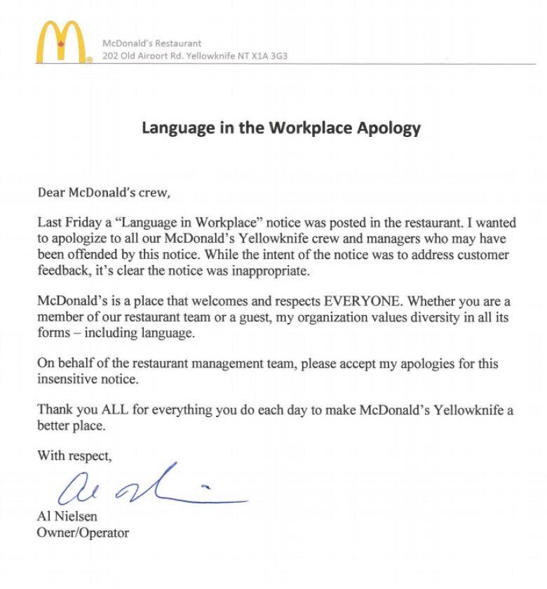 McDonald\u0027s apologizes for \u0027insensitive\u0027 notice demanding staff speak