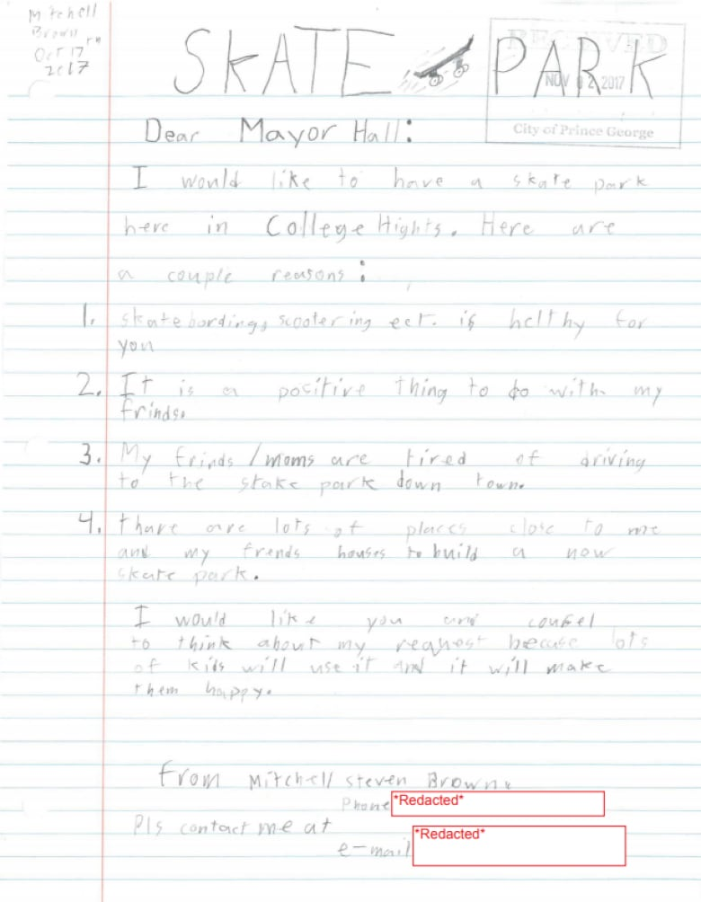 Over 70 elementary school kids sign petition telling Prince George