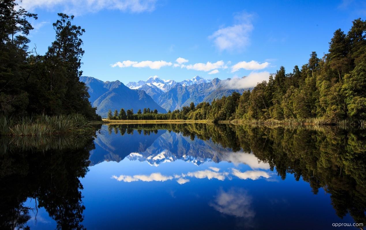 3d Hd Scenery Wallpapers Lake Matheson New Zealand Wallpaper Download Lake