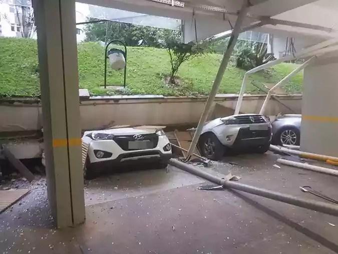 Desabamento de garagem no bloco C da 210 norte destrói carros de moradoresCorpo de Bombeiros/Divulgação