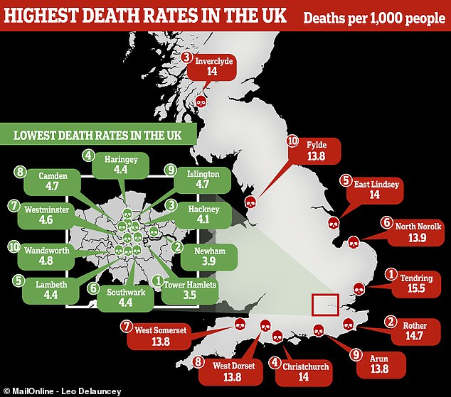 The death map of the UK Daily Mail Online
