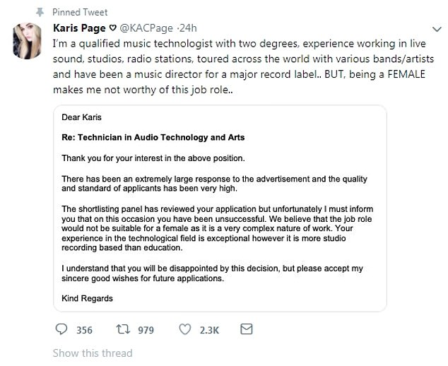 Music technologist says she was turned down for a job because it is