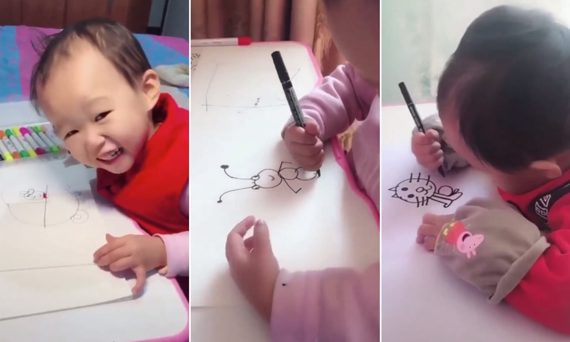 Toddler Fake Babies Incredible Video Of Talented Toddler Drawing Cartoons Goes
