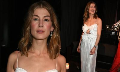 Rosamund Pike shows off her figure in breathtaking white pleated gown | Daily Mail Online