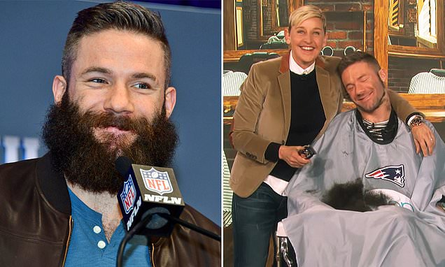 Julian Edelman lets Ellen DeGeneres shave off his beard live on her