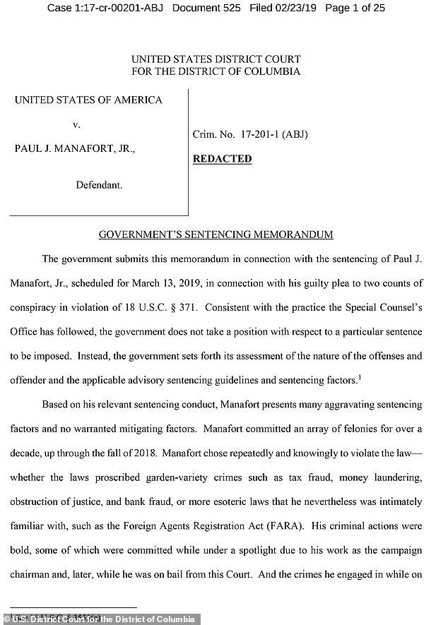 Paul Manafort\u0027s \u0027criminal actions were bold\u0027, as per sentencing memo