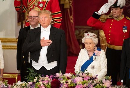 The leak is embarrassingly timed for the British Government, coming just weeks after the Queen welcomed Trump and his family with a 41-gun salute and a State banquet at Buckingham Palace (pictured) as part of a diplomatic drive to secure a post-Brexit free-trade deal