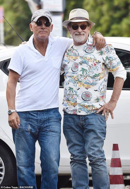 Showbiz pals:Steven Spielberg and Bruce Springsteen enjoyed a break from their hectic schedules as they holidayed with their wives in Portofino, Italy on Tuesday